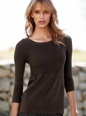 Cotton rib three-quarter sleeve boatneck sweater