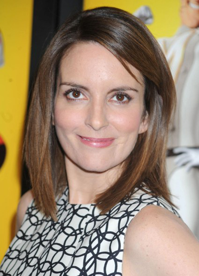 Tina Fey's brunette, shoulder length hairstyle