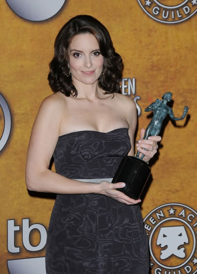Tina Fey at SAG Awards with her award