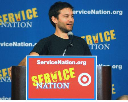 Tobey Maguire speaking at Service Nation event