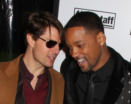 Tom Cruise and Will Smith at the movie premier of I Am Legend