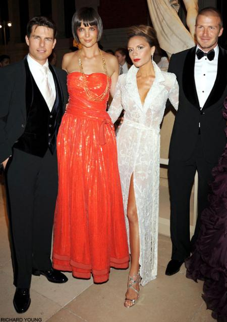 Tom Cruise and wife Katie Holmes pose with pals Victoria and David Beckham