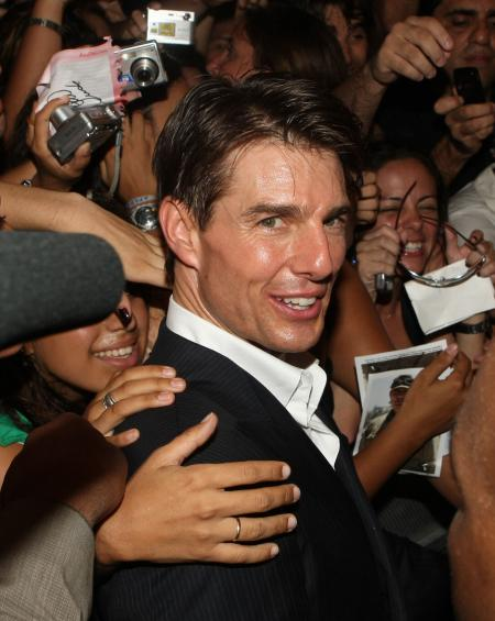 Tom Cruise surrounded by fans at Valkyrie premiere