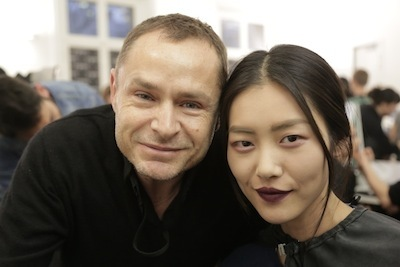 Tom Pecheux and Liu Wen backstage