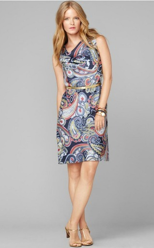 Cowl neck paisley dress