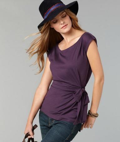 Knit cap sleeve tie waist blouse