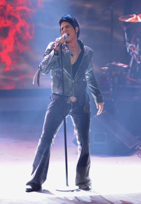Adam Lambert performing with the Top 4 on American Idol