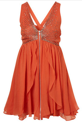 Orange babydoll dress