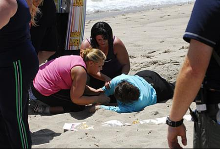 Toughest Biggest Loser Workouts Season 8 Tracy Collapsing on the Beach