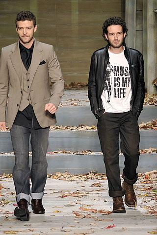 Trace Ayala and Justin Timberlake walk down the runway for Williams Rast.