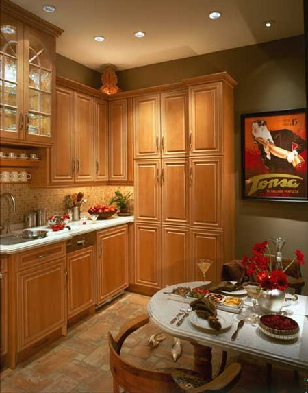 Rich wood cabinetry