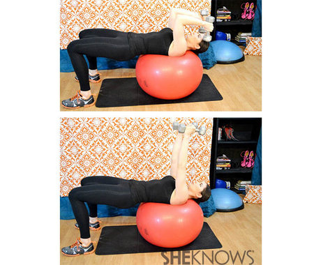 Skull crushers on a stability ball