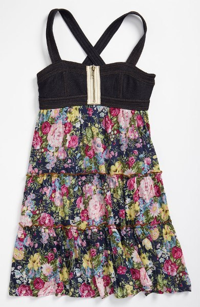 Truly Me Floral Zip Front Dress