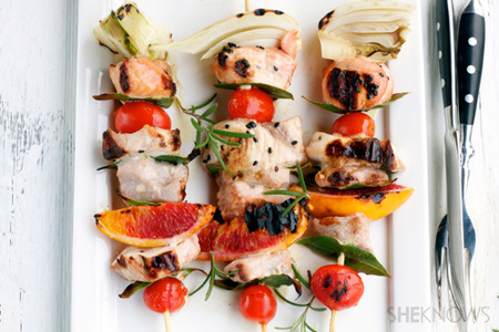 Tuna, salmon and swordfish skewers