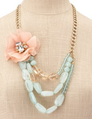 Turquoise and blossom necklace