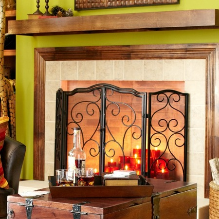 Scroll Fireplace Screen - Triple Panel