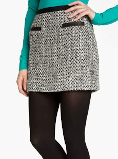 Tweed and leather skirt