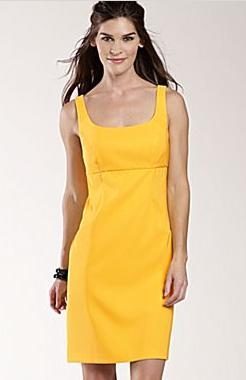 Twill Sheath Dress-Yellow Solid