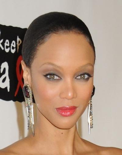 Tyra Banks with cat-eye make-up