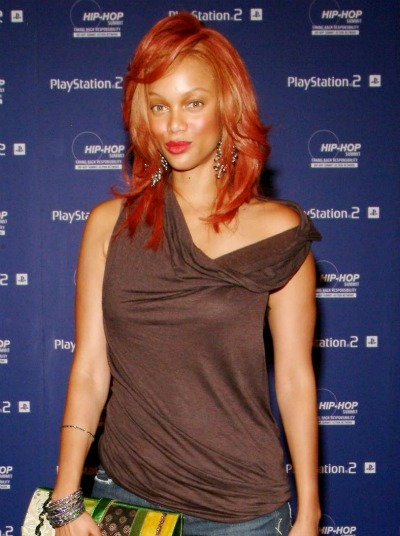 Tyra Banks' orange style