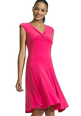 V-Neck Empire Waist Dress-Hot Pink