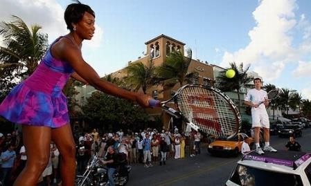 Venus Williams Plays Tennis in Traffic