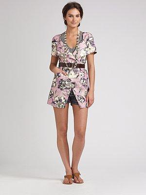 Vera Wang Short Sleeve Floral Jacket