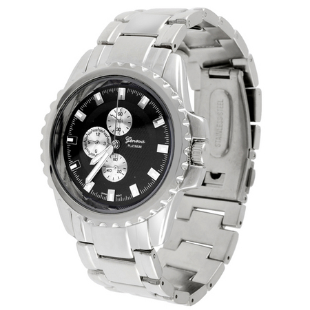 Geneva Platinum Metal Link Watch