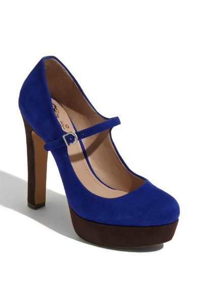 Cobalt and Brown Mary Jane Pump
