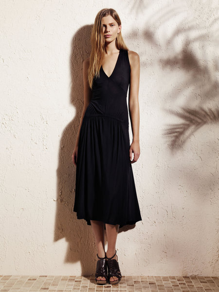 V-neck gathered dress