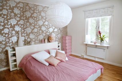 Wallpapered Accent Wall - Bedroom decorating ideas
