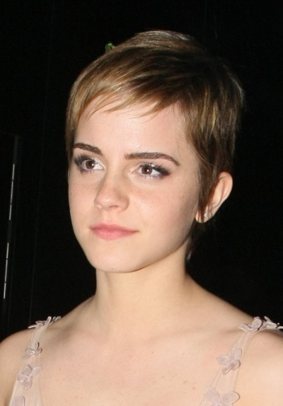 Emma Watson with short bangs