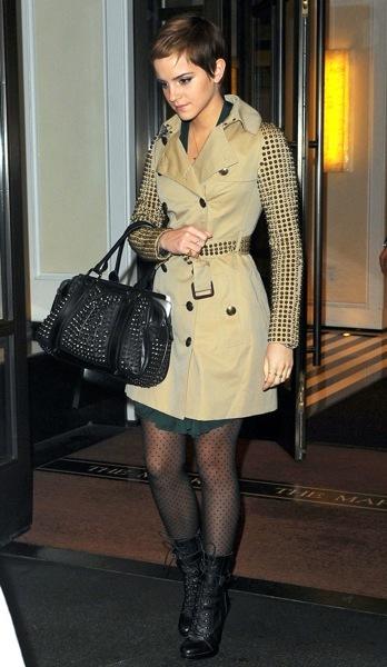 Emma Watson in studded sleeves