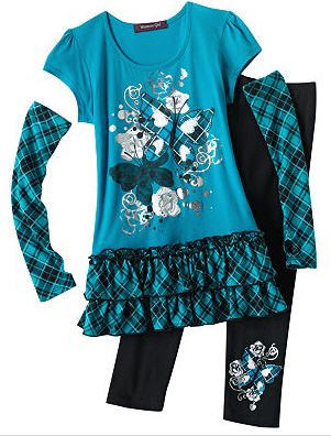 Weavers Girl Butterfly Plaid Top and Leggings set