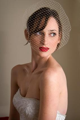 French Twist with Loose Side Part with Birdcage Veil