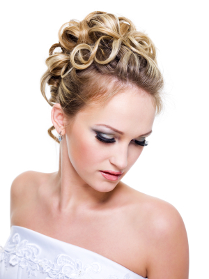 Wedding hair - Curls pinned at crown