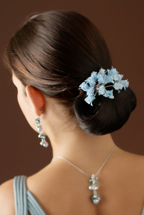 Wedding hair - Smooth bun with flower accents