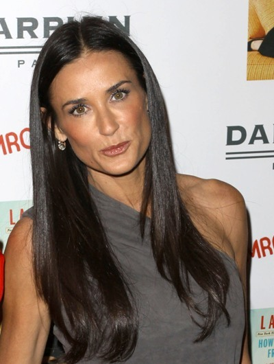 Demi Moore with straight sleek hair
