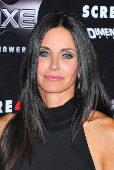 Courteney Cox with straight sleek hair