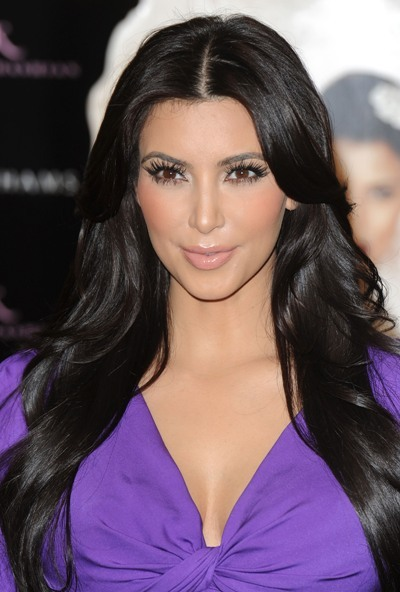 Kim Kardashian with relaxed curls