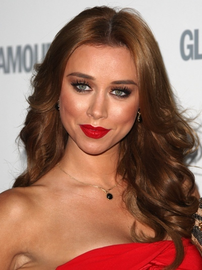 Una Healy with feathered curls