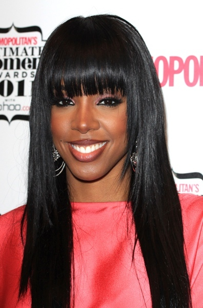 Kelly Rowland with straight sleek hair & bangs