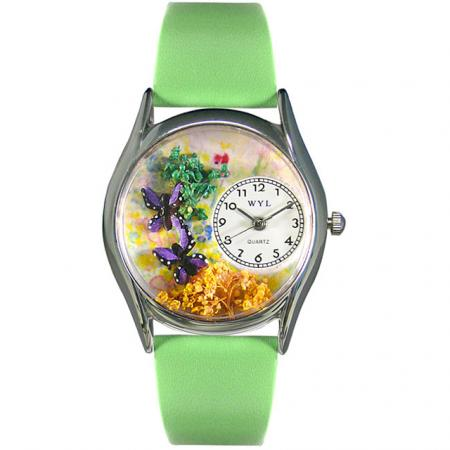 Whimsical Butterflies Women's Green Leather Strap Watch