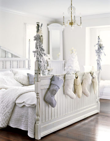 White holiday bedroom
