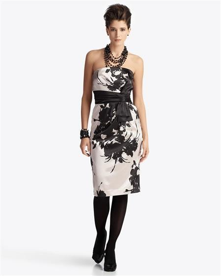White House Black Market Strapless Floral Dress with Bow