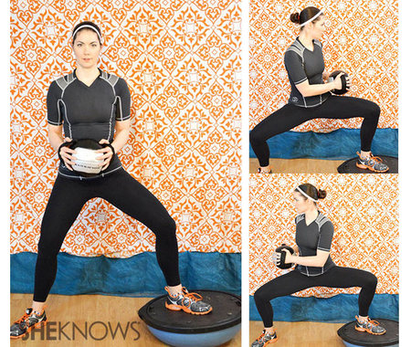 Wide-leg BOSU squat with twist