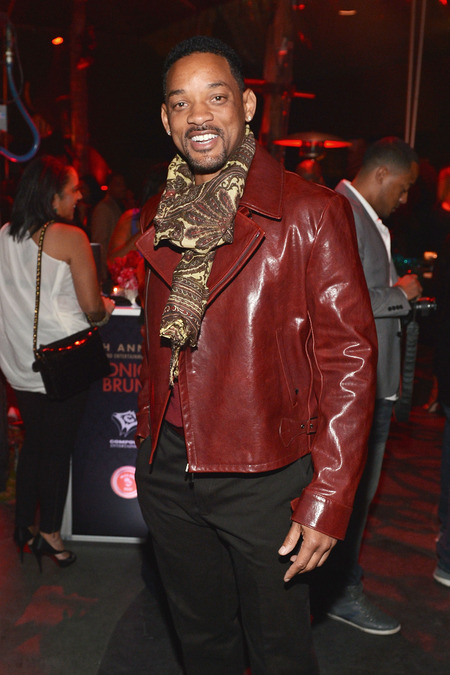 Will Smith parties in red leather