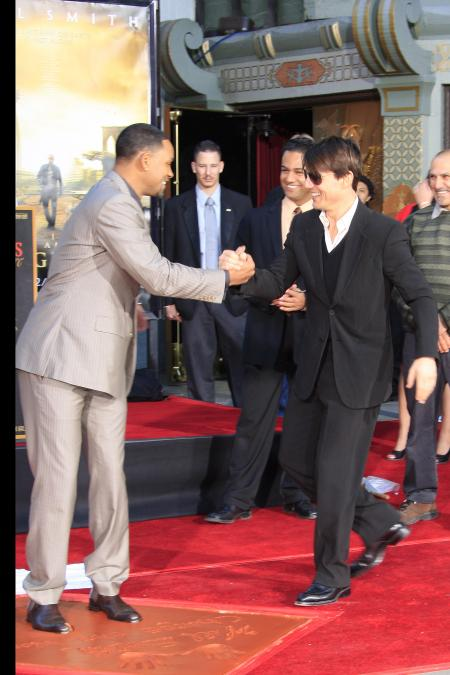 Will Smith and Tom Cruise at the Los Angeles premiere of I Am Legend