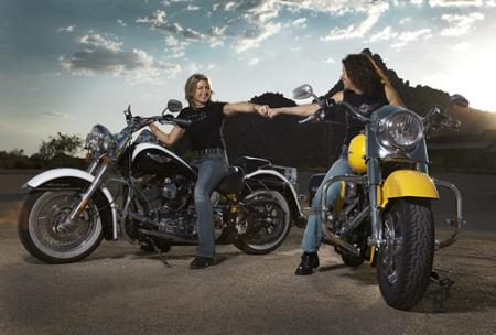 Women Harley-Davidson riders Nat and Darnell