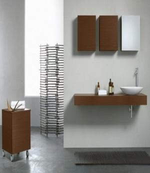 Brown and white minimalist bathroom